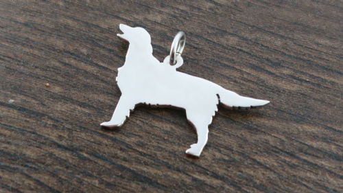 Flatcoat retriever dog Charm silhouette solid sterling silver Handmade in the Uk